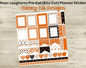 Erin Condren Planner Texas Longhorns Football Precut Kisscut Peel and Stick Stickers Flags Rectangle Boxes Labels Black Burnt Orange