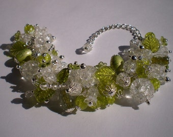 Green and Clear Crackle Glass, Lampworked Glass, Czech Glass, and Crystal Chunky Bead Bracelet