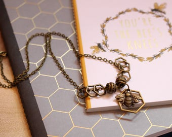 Bronze Honeybee Stitch Markers Necklace for Knitting - Bronze Honeycomb Markers - For Knitters - Notions - Wearable Notions - Knit Jewelry