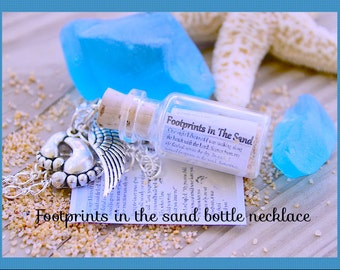 Footprints in the Sand Necklace,Glass 2ml Bottle , Courage, Wisdon, Spiritual, Faith, Mother, Daughter, Grandmother,By Tranquilityy