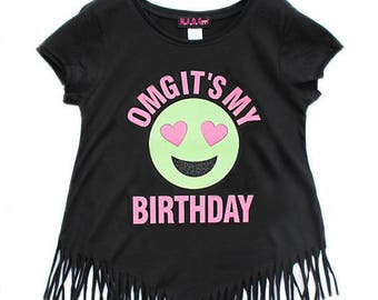 Emoji Birthday Shirt OMG Its My Girls Party Fringe