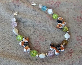 Handmade WELSH CORGI Tri-color Clay Bead Bracelet Mother of Pearl/Glass Beads