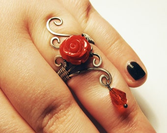 Red Rose Gothic Statement Ring in Aged Silver - Goth Flower Ring with Blood Drop Charm - UK Size P