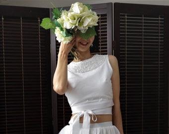 bridal crop top,handmade wedding dress,beaded wedding dress,wedding separates top,bridal separates,modest wedding dress,simple wedding dress