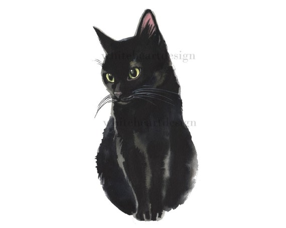 black cat clipart hand painted watercolor digital print files