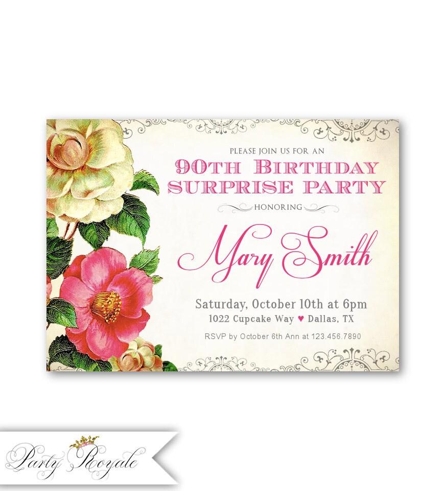 90th Surprise Birthday Invitations Women\'s 90th Birthday