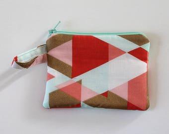 Coral zipper pouch, Minimalist pocket wallet, Change purse, cash wallet, mini zipper pouch, earbud case, Metallic gold teal bag, mom purse