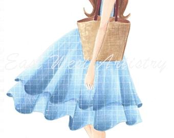 Blue Dress Fashion Illustration~Free Shipping