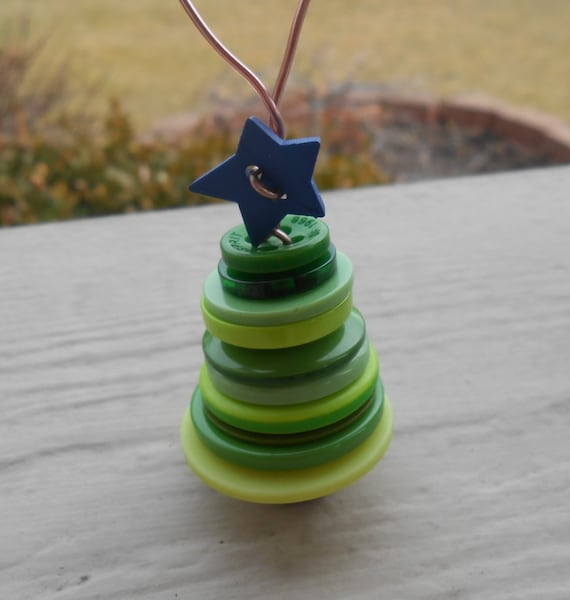 Tree Ornament. Christmas Button Tree. Holiday Decoration. Unique Gift. Star. Mom, Dad.