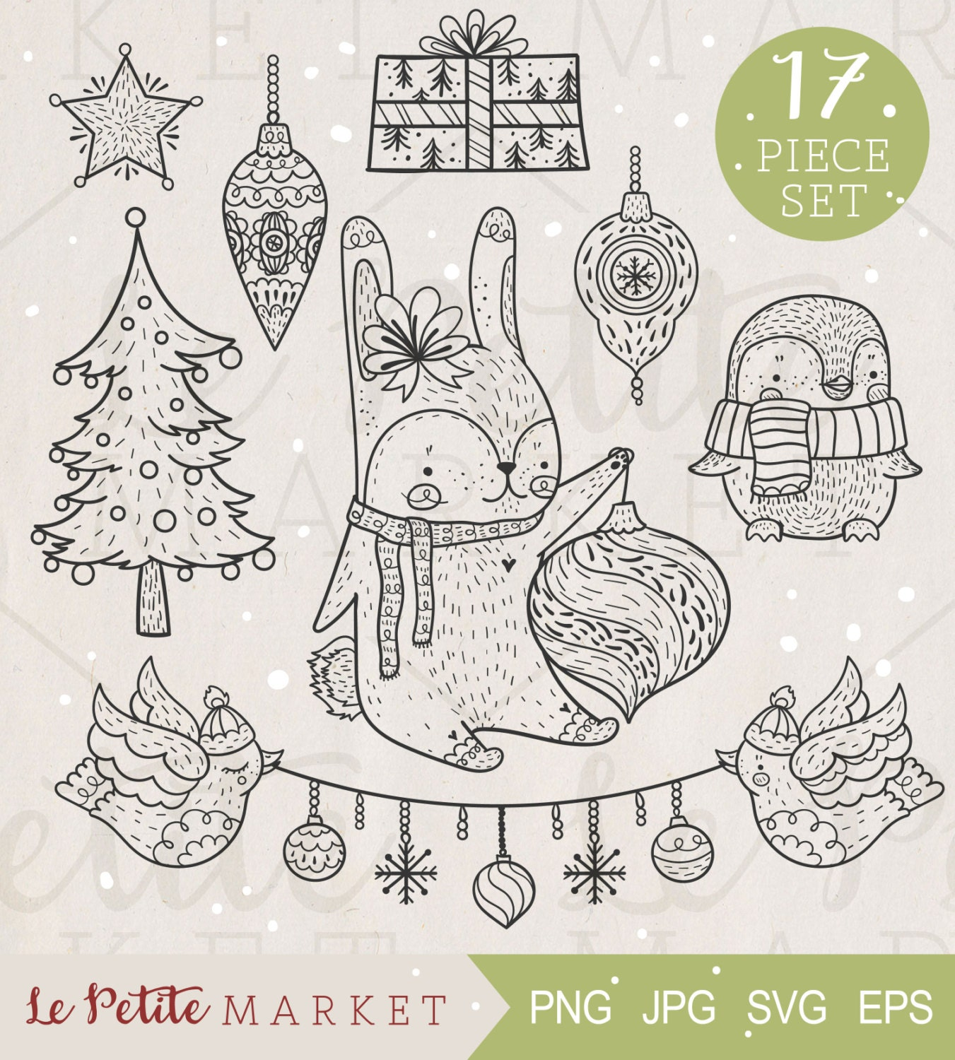 Cute Hand Drawn Woodland Animals Holiday Clip Art Set