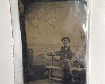 Well-Dressed Gentleman on Bench Vintage Tintype Photograph - Authentic - (Dated between 1850 - 1920) Item:TT18031