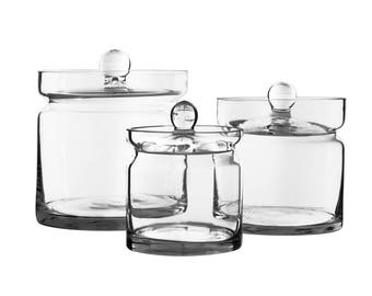 "Glass Apothecary Jars Set of 3, Candy Buffet Jars, Glass Jar with Lid, H-8.5"", 6"", 4.75"", #GAJ121-121/12-121/15"