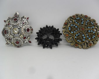 SALE ON 3 Beautiful broken Buckles for upcycling or jewellery making