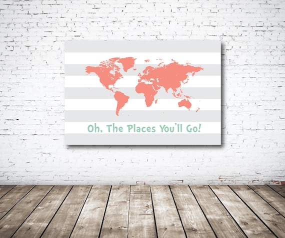 canvas oh the places you 39 ll go world map. Black Bedroom Furniture Sets. Home Design Ideas