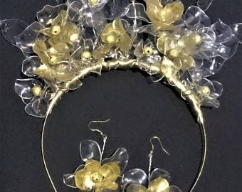 Light weight gold crown, featuring hand moulded clear and gold flowers