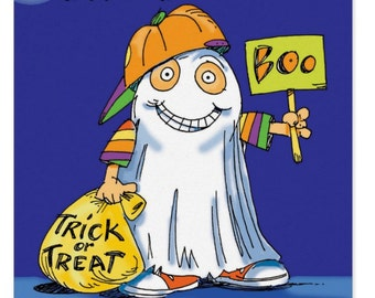 Halloween Ghost Card, Can Customize to names,Grandson Halloween or birthday, Witches and all sorts of fun