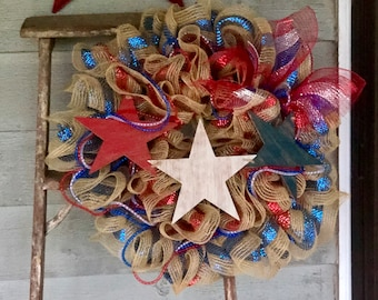 4th of July Wreath - Patriotic Wreath - Red White and Blue Wreath - Fourth of July - Summer Wreath