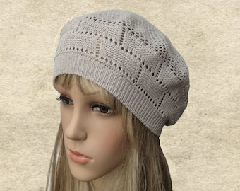 Knit beret women, Ladies knitted beret, Knitted cotton beret, Gray knit beret, Womens beret trendy, Knit beret for lady, Knitted beanie