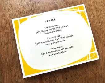 Printable Wedding Information Card - Mod Circles - Printable Wedding Info Card - Directions - Hotel Information - Editable PDF - Yellow