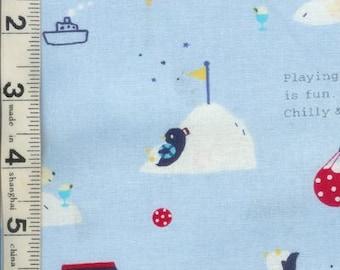 Polar Fun Bear Penguin Blue Japanese Kawaii Fabric FQ