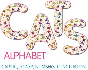 Digital Kittens Alphabet for scrapbooking, kids clip art, Papercrafts, Decor, Pillow, Tea Towel, Printable Lettering, Instant Download, #73