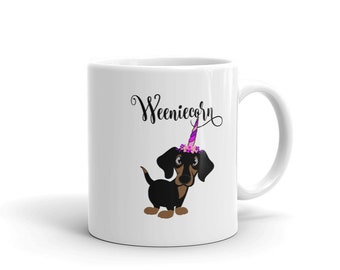 Unicorn Dachshund Dog Coffee Mug Puppy Novelty Mug Cup Gift Dog Lover Weenicorn