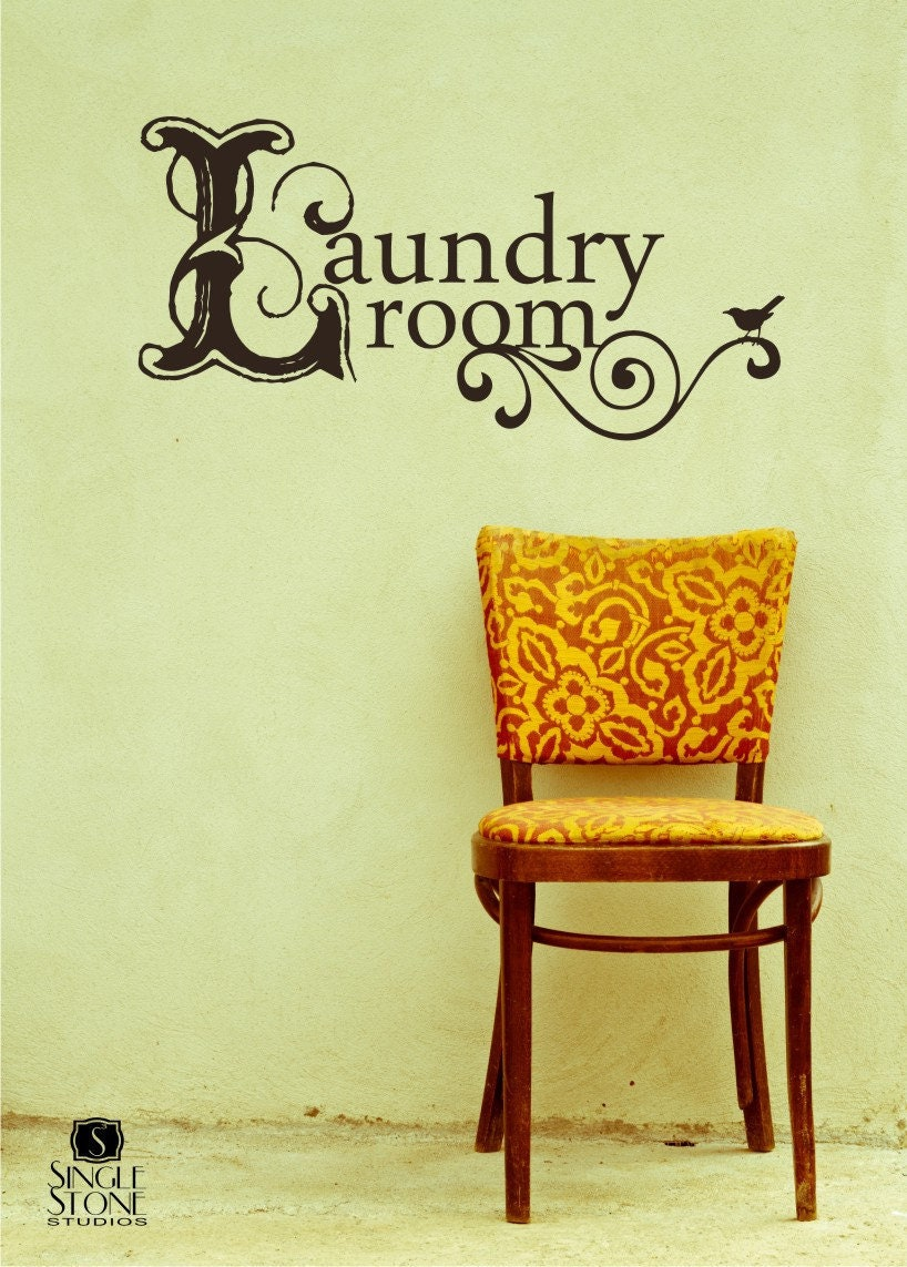 Laundry Room Wall Decal Vintage Style Vinyl Text Wall Words