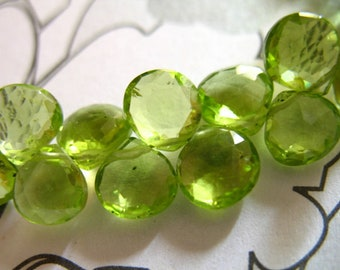 5-20 pcs, PERIDOT Heart Briolettes Beads, 6-6.5mm, Luxe AAA, Granny Apple Green, petite dainty tiny August birthstone gemstone 67