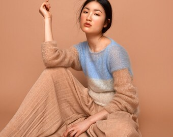 SABRINA WEIGT -> Neues Label, neuer Shop! Mohair Pullover, hellblau, creme, camel, Super Kid Mohair, Mohairpullover, Strickpullover,Pullover
