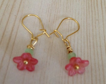 Pink Flower Earrings With A Hint Of Mint Green