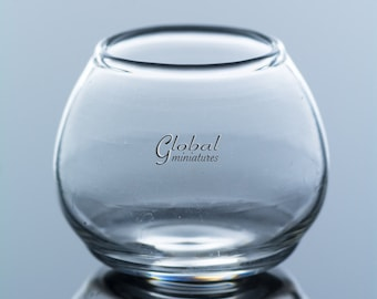 Dollhouse Miniatures Glassware Glass Size L Narrow-Mouthed Round Fishbowl