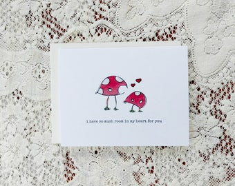 Mushroom Easter Card / Funny Mushroom Card / So Mushroom / In My Heart / For Boyfriend / For Husband / For Partner / Anniversary Card