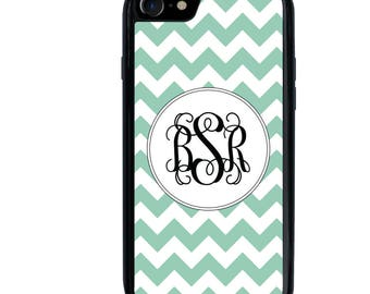 iPhone 5 5s 6 6s 6+ 6s+ SE 7 7+ iPod 5 6 Phone Case, Light Teal Chevron Design, Monogram, Initials, Letters, Plus