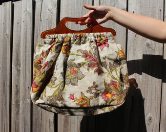 Edwina Carry All Floral Tapestry Fabric Bag / Perfect for Markets