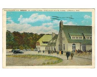 Angola Indiana vintage postcard | Potawatomi Inn, Lake James, Pokagan State Park | 1930s IN travel scrapbook, vacation souvenir