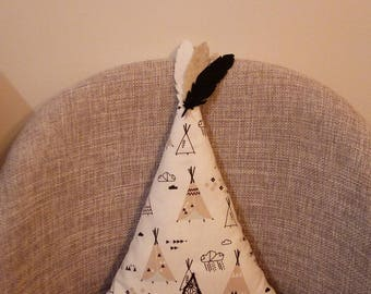 teepee, tipi patterns cushion, white and taupe