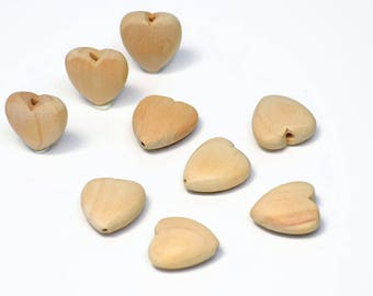 Wooden HEART beads - Set of 5 * Blank * Unfinished > Raw Wood heart beads / Valentines Day LOVE Heart Pendant - Love heart - Australia