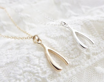 Wishbone Necklace, Sterling Silver, Gold Filled, Gold Vermeil, Lucky Wishbone