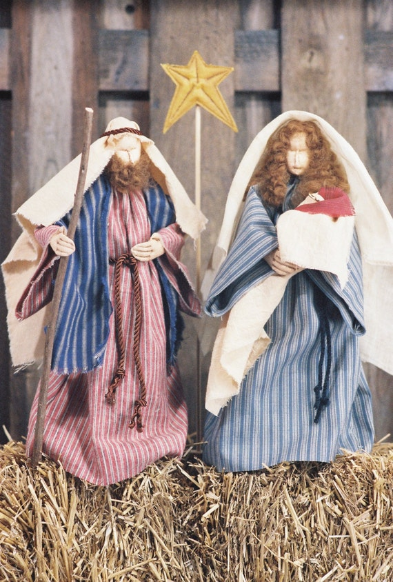 Love Is Born - Cloth Doll E-Pattern - Christmas Nativity Free Standing Stump Dolls