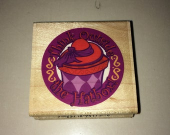 "RED HAT SOCIETY - ""Think Outside the Hatbox"" Rubber Stamp"