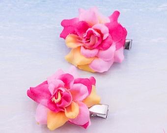 Rose Hair Clip, 2 inch, Fabric   Flower Hair Clip,   Metal Clip, One Pair, Sherbert