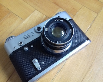 Reserved! Vintage Rangefinder Camera FED-3 with lens Industar-61 in original leather case