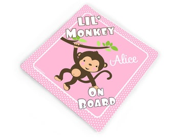 Lil' monkey on board vehicle bumper sticker - white and pink polka dots -  CD95S