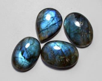 4 Pcs Labradorite Blue Fire Gemstone Natural Labradorite Cabochon Gemstone 21x14-19x12mm 66Cts Both side polish Gemstone Gemstone#4084