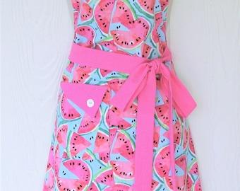 Cute Apron, Watermelon Apron, Womens Full Apron, Vintage Style, Retro Apron, KitschNStyle
