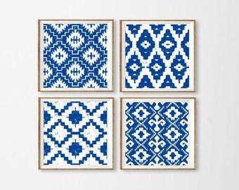 Ikat Art Printables, Set of 4 Ikat Wall Art, Nautical Wall Art, Royal Blue Ikat Art, Aztec Blue Wall Art, Tribal Art Blue Square Large