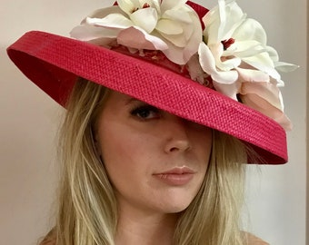 Fuschia pink Kentucky derby sun hat church wedding couture floral big large wide brim