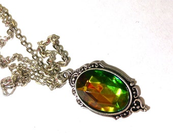 Green Necklace // Vitrail Med Necklace // Faceted green and yelloworange glass necklace