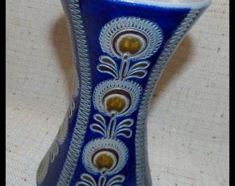 Heavy vase earthenware Westerwald handmade vintage ceramic blue grey Brown