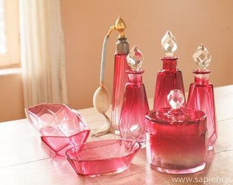 Beautiful French antique Baccarat 7 pc vanity set cranberry color